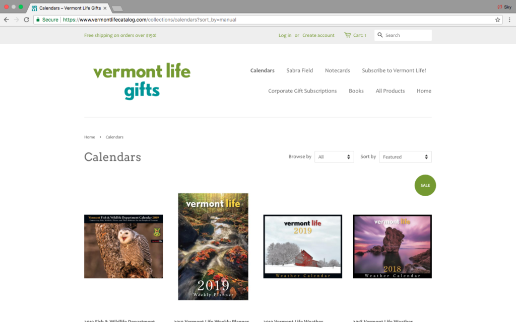 Vermont Life ecommerce site screenshot